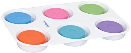 (Sax Non-Toxic Giant Tempera Paint Cakes with Tray - 2 1/4 x 3/4inch - Set of 6 - Assorted Colors )