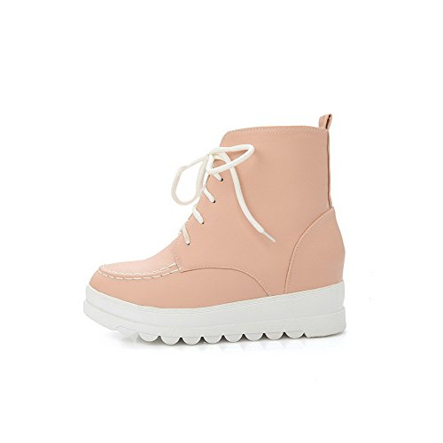 AgooLar Women's Soft Material Lace-up Round Closed Toe Low-Heels Low-Top Boots Pink sCXV7