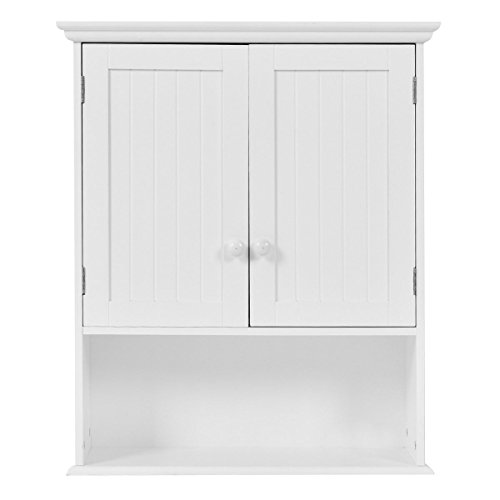 LHONE Wall Mount Bathroom Cabinet Wood Bathroom Storage Organization Wall Cabinet with Double Doors & 1- Shelf Cottage Collection Wall Cabinet- White