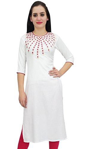 Bimba Women's White Designer Tunic Embroidered Kurta Custom Kurti Blouse-10