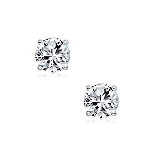 Round Cubic Zirconia AAA CZ Brilliant Cut Solitaire Magnetic Clip On Stud Earrings Sterling Silver More Colors