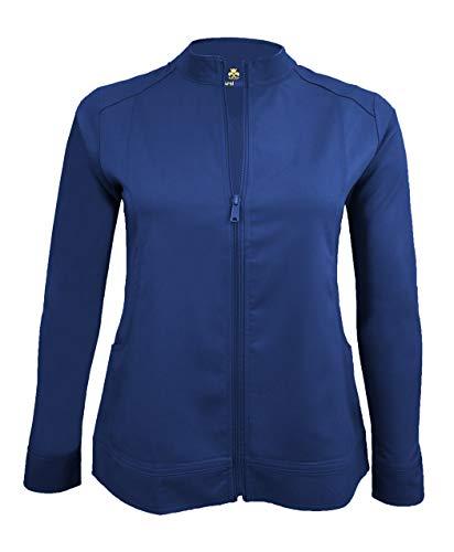 (Natural Uniforms Women's Ultra Soft Front Zip Warm-Up Scrub Jacket (True Navy Blue, Medium))