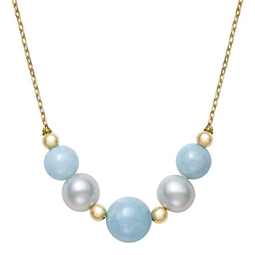 14k Gold Cultured Freshwater Pearl and Natural Aquamarine Chain Necklace, 18