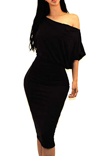 Draped One Shoulder - Vivicastle Women's One Off Shoulder Draped 3/4 Batwing Sleeve Bodycon Midi Dress (Large, TT-Black)