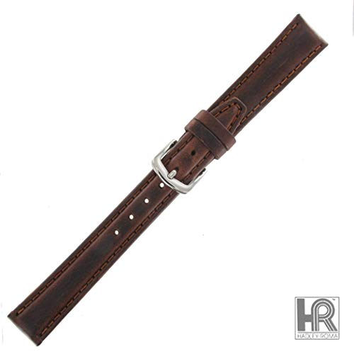 Hadley Roma LS881 12mm Long Brown Oil Tan Leather Stitched Ladies Watch Band ()