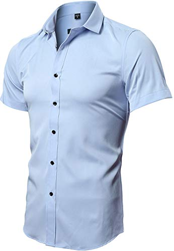 FLY HAWK Wrinkle Free Button Up Slim Fit Collared Formal Short Sleeve Shirts Blue US XXS