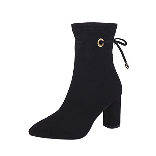 Inkach Womens Ankle Boots | Ladies High Heels Snow Boot | Casual Warm Martin Shoes Black