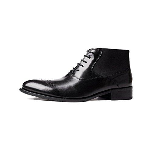 Scarpe Oxford Stivali da Uomo in Pelle Scarpe Coreane Stivali Martin Stivali di Moda Scarpe Inghilterra Modelli Autunnali E Invernali Antiscivolo Resistente all'Usura Stivali di Moda Black