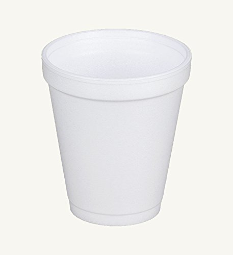 Dart 8J8, 8 Oz. White Foam Cup with White Lift'n'Lock Plastic Cup Lid, Customizable Disposable Hot and Cold Drink Beverage Tea Coffee Cups (50)