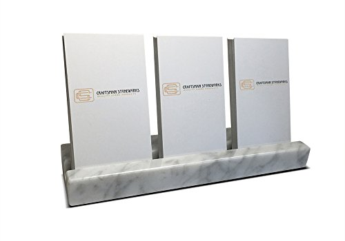 Vertical Business Card Holder, Holds 3 Sets of Cards, White Carrara Marble
