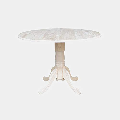 Wood Turned Pedestal Base Dining Table - Dining Table with 2 Leaf and Round Top - Unfinished