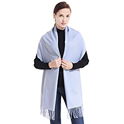 Lerdu Ladies Gift Idea Cashmere Pashmina Scarf Fashion Warm Wool Wrap Shawl Winter Stole For Women Light Blue