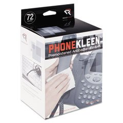 Wholesale CASE of 10 - Read/Right PhoneKleen Wipes-Phone Kleen Wipes, Pre-Moistened, 72/BX