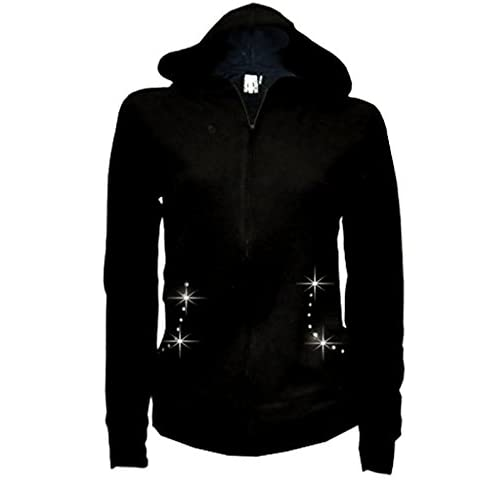 Lady Plus Size Angel Wings Zip up Hoodie Sweater with Rhinestones Front &  Back 50%
