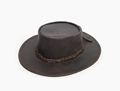 Minnetonka Men's Foldable Leather Hat Dk Brown Large