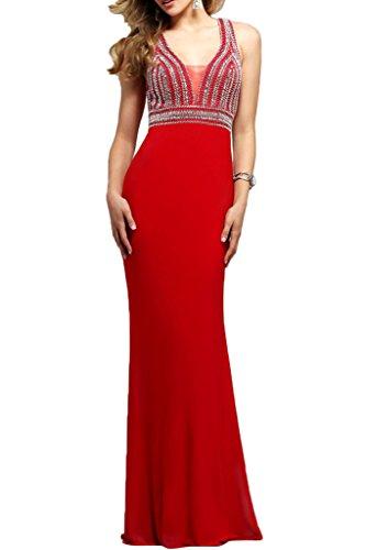Damen Lang mia Festlichkleider Ausschnitt Braut Chiffon Rot La V Brautmutterkleider Sommer Abendkleider Perlen mit wqtEFxd