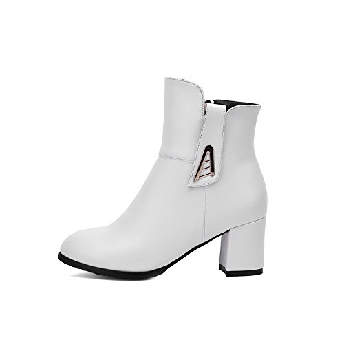 Closed Kitten Women's Heels Pointed Zipper WeiPoot PU Solid White Toe Boots xE0wd87