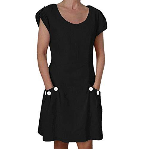 CCatyam Plus Size Dress for Women, T-Shirt Tops Short Sleeve Solid Ruffled Pockets Casual Loose Fashion Black