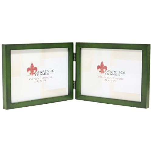 lawrence frames collection hinged double horizontal wood picture frame gallery 5 by 7 inch green - Dual Picture Frame