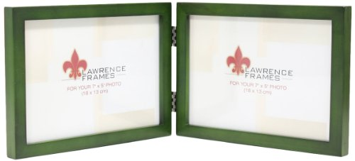 Lawrence Frames Collection Hinged Double Horizontal Wood Picture Frame Gallery, 5 by 7-Inch, Green ()