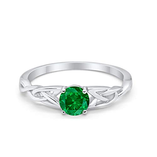 Blue Apple Co. Celtic Trinity Ring Solid 925 Sterling Silver Wedding Engagement Promise Ring SolitaireSimulated Green Emerald Cubic Zirconia Size-7 (Green Rings Engagement Mens)