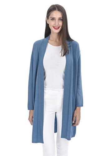 State Cashmere Women's 100% Cashmere Soft Open Front Long Cardigan - Cotton Boatneck Sweater