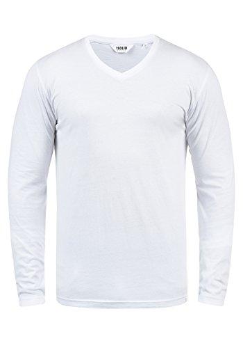 solid Homme shirt Manches T V À Pour Col Longues Beda Avec White En Zfq0wZ