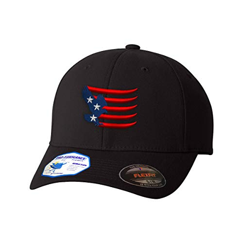 - Flexfit Baseball Cap Eagle American Flag Embroidery City Name Polyester Hat Elastic - Black, Large/X Large Design Only