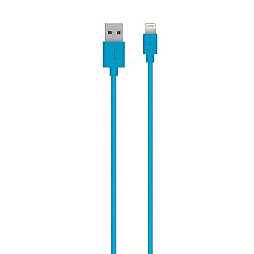 Belkin Blue Connector - Belkin Lightning to USB Cable - MFi-Certified iPhone Lightning Cable for iPhone XS, XS Max, XR, X, 8/8 Plus and more (4ft/1.2m), Blue