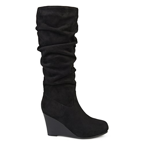 Brinley Co. Womens Regular and Wide Calf Slouchy Faux Suede Mid-Calf Wedge Boots Black, 8 Regular (Mid Calf Wedge Boots)