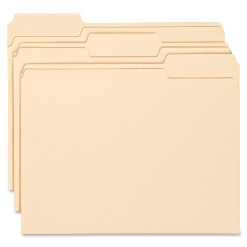 Smead WaterShed/CutLess File Folder, 1/3-Cut Tab, Letter Size, Manila, 100 Per Box -