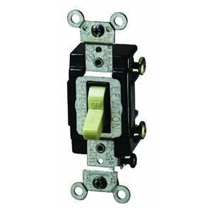 Leviton 5501-LHI Single-Pole Lighted Handle Switch, 15A, 120V, Ivory, LIT WHEN (15a Single Pole Switch)