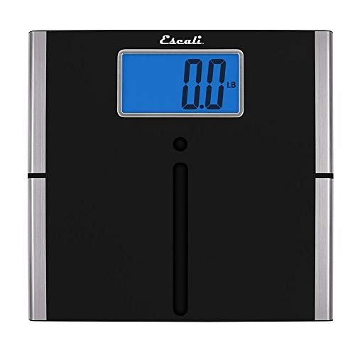 Escali US200L Extra Large Ultra Slim Bathroom Body Scale, Low Profile, LCD Digital Display, 440lb Capacity, Black/Silver Trim