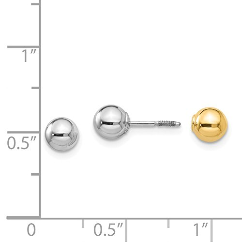 14k Two Tone Yellow Gold Reversible 5mm Ball Screw Earrings Button Fine Jewelry Gifts For Women For Her by ICE CARATS (Image #5)