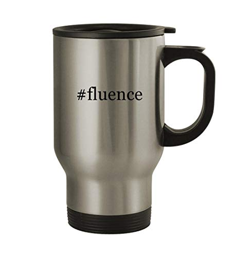#fluence - 14oz Sturdy Hashtag Stainless Steel Travel Mug, Silver