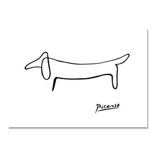 DMPro Picasso Abstracto Pinturas Uno Accidente cerebrovascular Poster Linea Pared Arte Lienzo Perro Poster Negro Blanco Pared Cuadros Salon Dormitorio Inicio Decoracion 30x40cm / Sin Marco