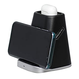 2 in 1 Wireless Phone Charger Stand, qi charging stand for airpods 1, apple airpods 2, phone charger for android, wireless chargers for iPhone samsung wireless fast charger cargador inalmbrico samsung