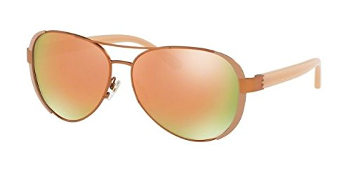 Tory Burch TY 6052 3202R5 Rose Gold Blush Metal Aviator Sunglasses Rose Gold Mirror - Rose Burch