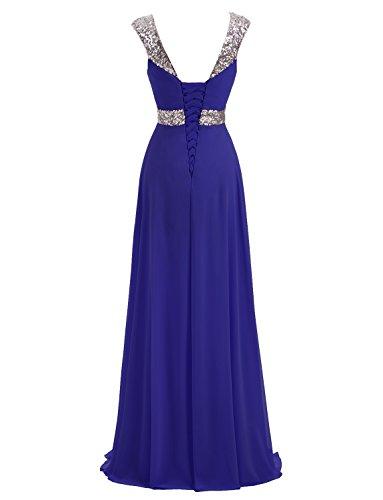 Formal Lange Erosebridal Brautjungfernkleider Chiffon Königsblau Abendkleid Rq70ZTp