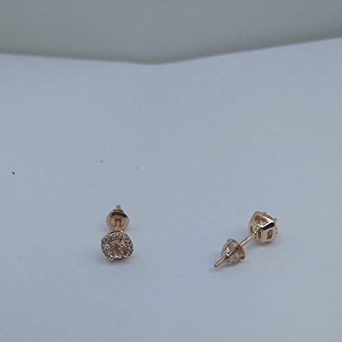 10K Rose Gold Round Cut Morganite & White Diamond Ladies Halo Style Stud Earrings by DazzlingRock Collection (Image #6)