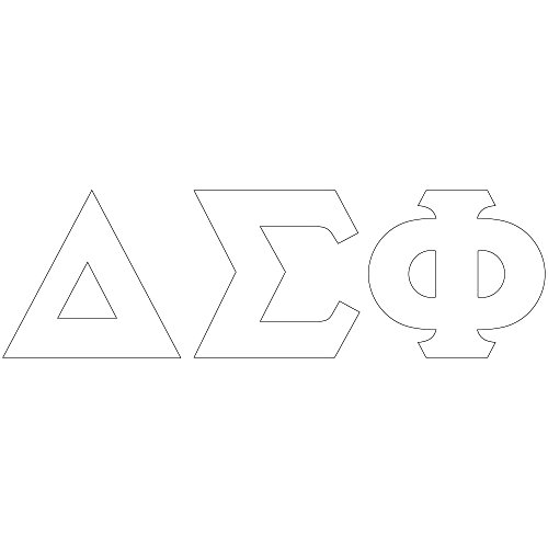 Theta Sigma Phi (Delta Sigma Phi White Letter Sticker Decal Greek 2 Inches Tall for Window Laptop Computer Car Delta Sig)