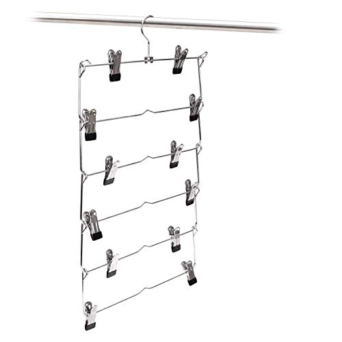 6 Tier Foldable Multi-skirt Hanger,Stainless Steel Pants Hangers Closet Organizer Space Saving Clothes Rack (2pack)