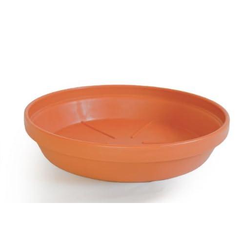 "Cheap KECO 10"" Round Plastic Plant Saucer - Crack and Break Resistant Terra Cotta Orange Clay-Color Heavy Plastic"