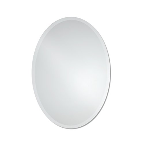 Large Frameless Beveled Oval Wall Mirror | Bathroom, Vanity, Bedroom Mirror | 23.5-inch x 33-inch