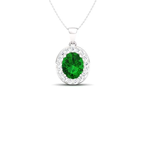 - Diamondere Natural and Certified Oval Cut Emerald and Diamond Petite Necklace in 14k White Gold | 0.51 Carat Pendant with Chain