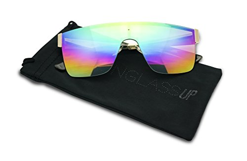 f76f7fa1b7 Futuristic Full Shield Rimless One Piece Mirrored Gradient Sunglasses  (GunMetal   Rainbow Lens