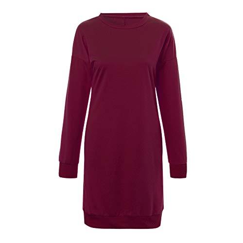 Fiesta Pullover Cortas Cuello Mini Granate Camiseta Redondo Otoño Larga Manga De Vestido Invierno 2018 vestido Largo Lenfesh Vestidos Mujer vestidos waUOcqUfB