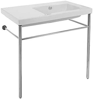 Tecla CO01011-CON-No Hole Condal Rectangular Ceramic Console Sink and Polished Chrome Stand, White