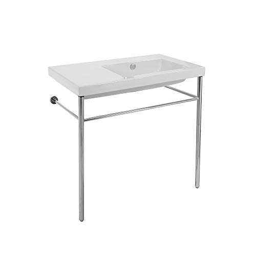 Tecla CO01011-CON-No Hole Condal Rectangular Ceramic Console Sink and Polished Chrome Stand, White ()