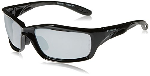 Crossfire 263 Infinity Safety Glasses Silver Mirror Lens - Shiny Black - Infinity Glasses Frames